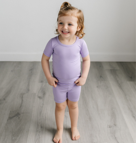 Little Sleepies Short Sleeve & Shorts Bamboo Pajama Set - Wisteria (In Transit)