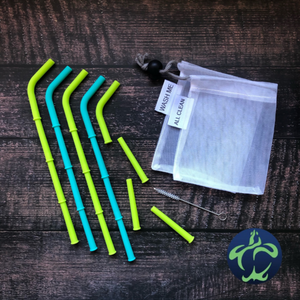 Big Bee, Little Bee Build-A-Straw Reusable Silicone Straws Starter Kit: Sea Turtle Collection