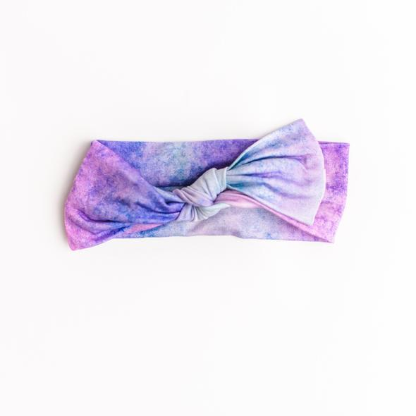 Load image into Gallery viewer, Little Sleepies Bow Headband - Purple Watercolor