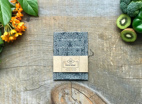 OLSEN+OLSEN Organic Beeswax Wraps pack of 3 - Grey Flowers