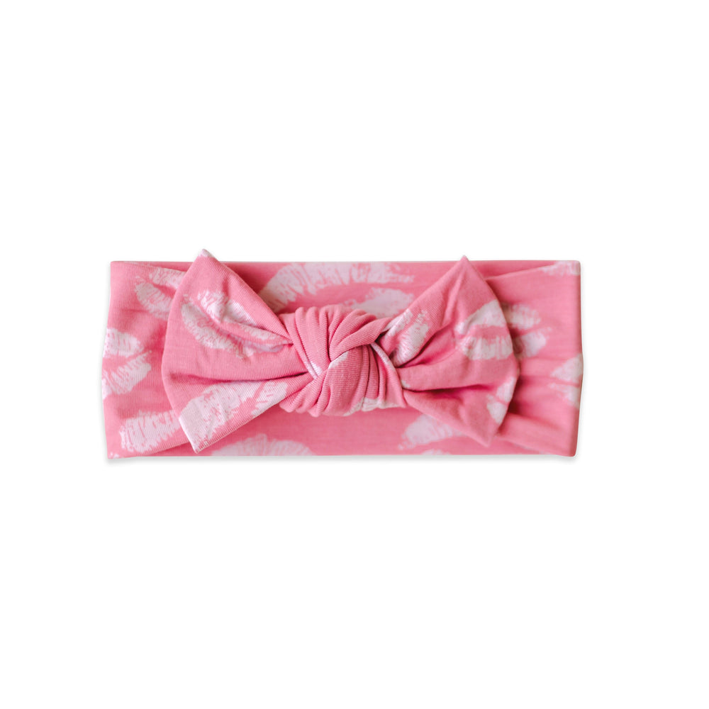 Load image into Gallery viewer, Little Sleepies Bow Headband - Pink Kisses - FINAL SALE