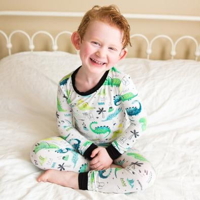 Little Sleepies Two Piece Pajama Set - Blue/Green Dinosaurs