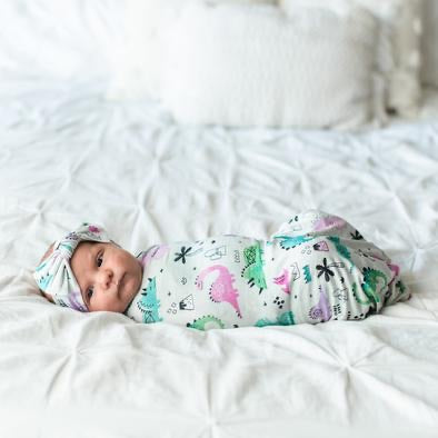 Little Sleepies Bamboo Swaddle + Bow Set - Purple/Pink Dinosaurs