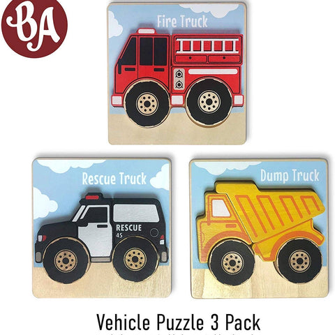 Begin Again Vehicle Puzzles - 3 pack