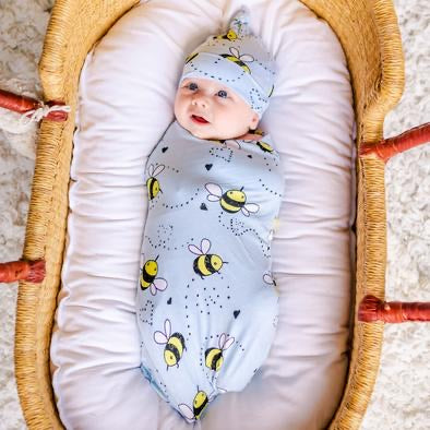 Little Sleepies Bamboo Swaddle + Hat Set - Bees