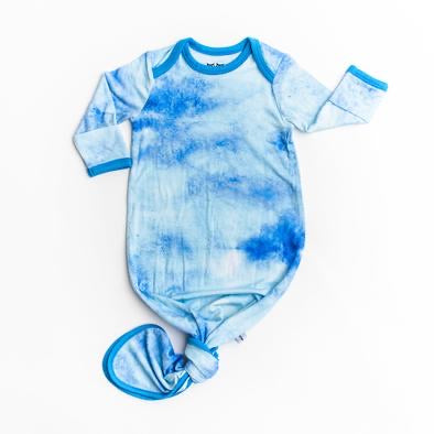 Little Sleepies Bamboo Infant Knotted Gown - Blue Watercolor