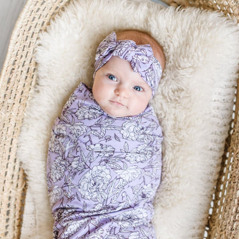 Little Sleepies Bamboo Swaddle + Bow Set - Peonies
