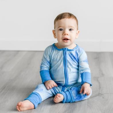 Little Sleepies Bamboo Zip Romper/Sleeper - Blue Watercolor