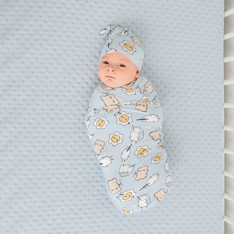 Little Sleepies Bamboo Swaddle + Hat Set - Blue Breakfast Buddies