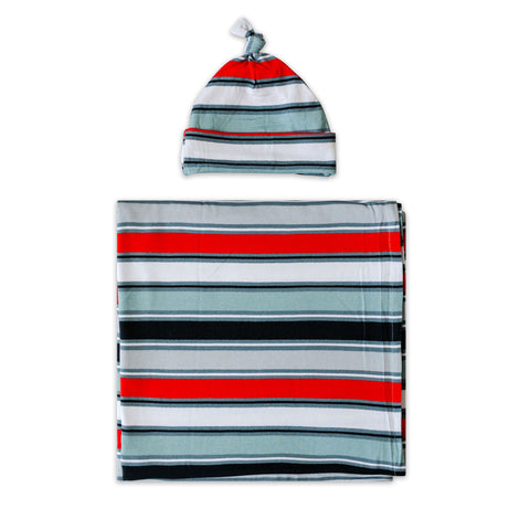 Little Sleepies Bamboo Viscose Swaddle + Hat Set - Winter Stripe