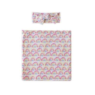 Little Sleepies Bamboo Swaddle + Headband Set - Pastel Rainbow