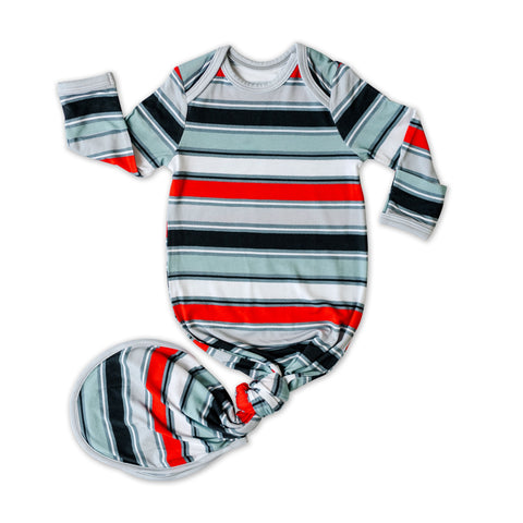 Little Sleepies Bamboo Viscose Infant Knotted Gown - Winter Stripe