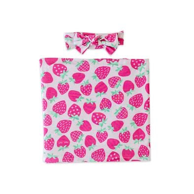 Little Sleepies Bamboo Swaddle + Bow Set - Strawberries