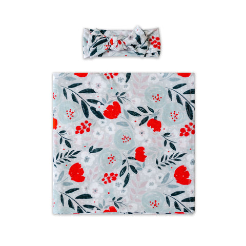 Little Sleepies Bamboo Viscose Swaddle + Headband Set - Winter Floral