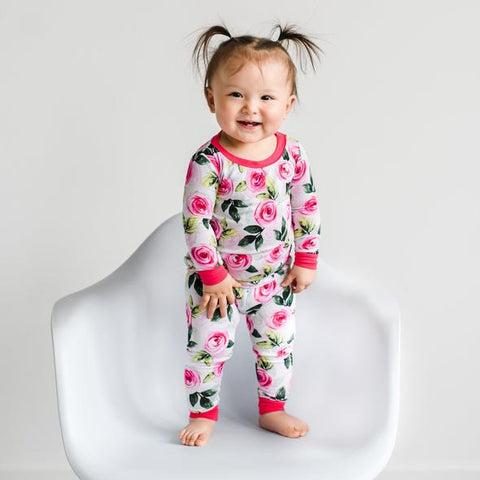 Little Sleepies Two Piece Pajama Set - Roses