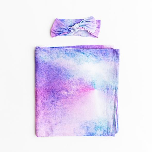 Little Sleepies Bamboo Swaddle + Headband Set - Purple Watercolor