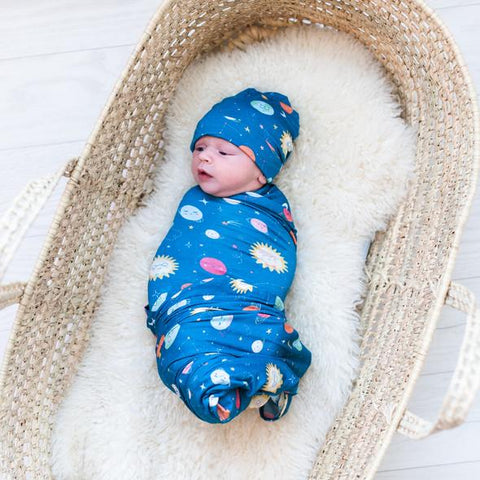Little Sleepies Bamboo Swaddle + Knotted Hat Set - Space