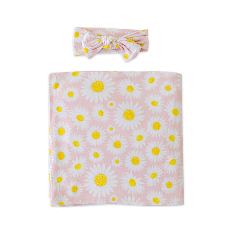 Little Sleepies Bamboo Swaddle + Headband Set - Daisies