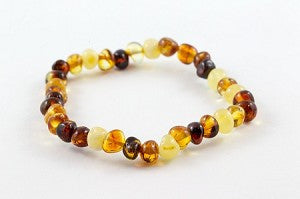 Healing Hazel Baltic Amber Ankle Bracelet For Babies - Polished Multicolor