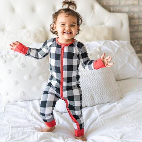 Little Sleepies Bamboo Zip Romper/Sleeper - Black & White Plaid