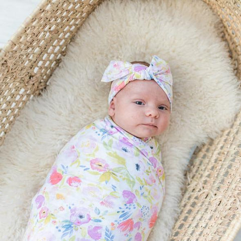 Little Sleepies Bamboo Swaddle + Bow Set - Watercolor Blooms