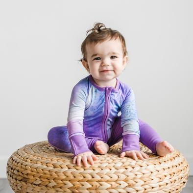 Little Sleepies Bamboo Zip Romper/Sleeper - Purple Watercolor