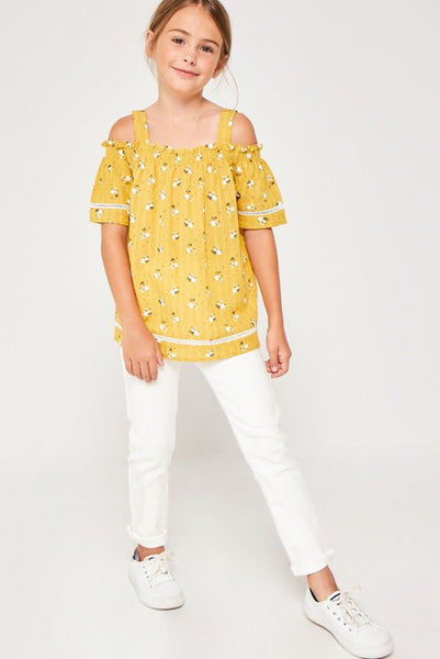 Girl's Honey Floral Cold Shoulder Top