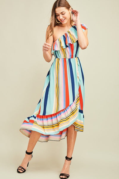 Multi Color Striped One Shoulder Dress