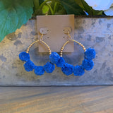 Blue Raffia Pompom Beaded Earrings