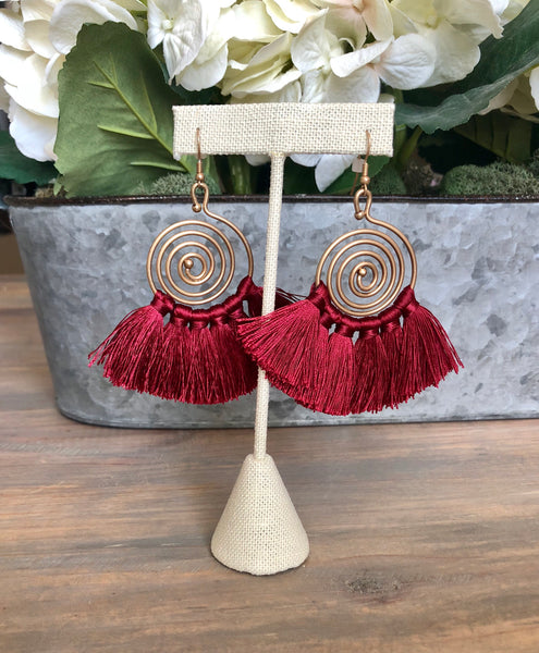 Burgundy Swirl & Tassel Earrings