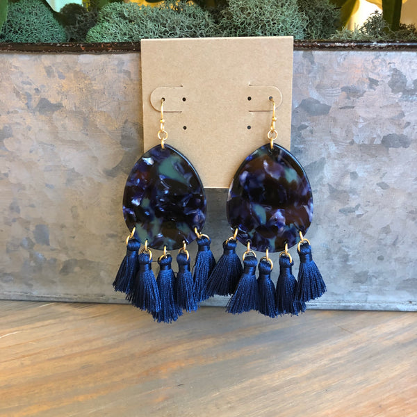 Navy Acrylic Tassel Earrings
