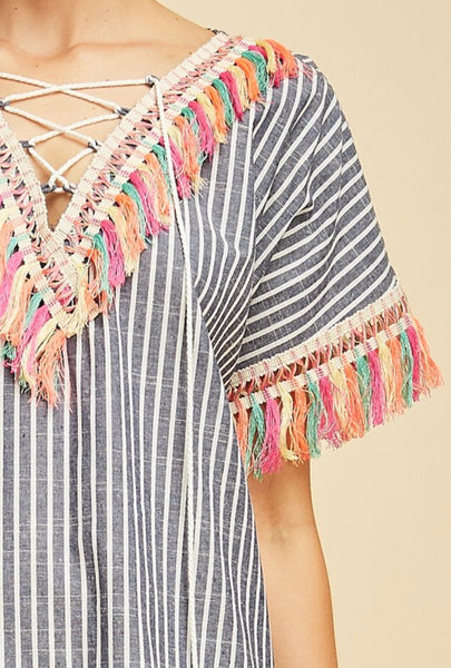 Chambray Stripe Tassel Tunic