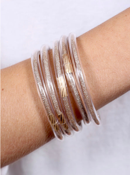 Gold Lightweight Bangle Set