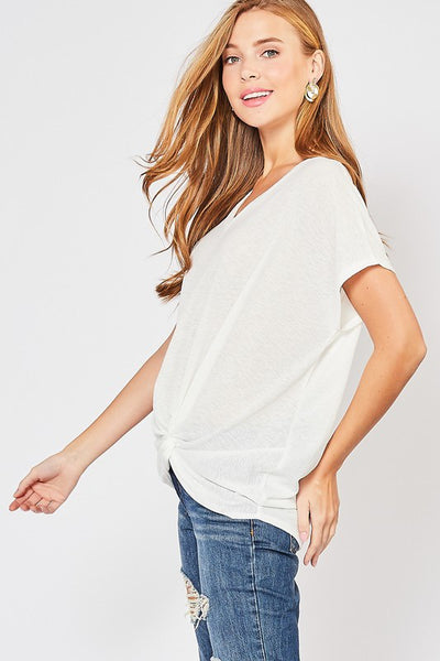 Off White Textured V-Neck Top
