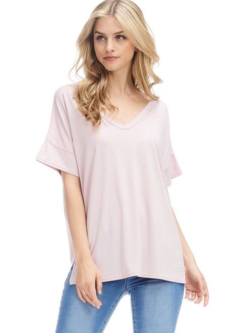 Dusty Rose Basic V-Neck Top