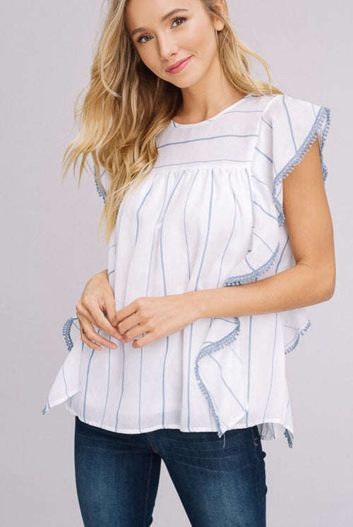 Light Blue Striped Baby Doll Top