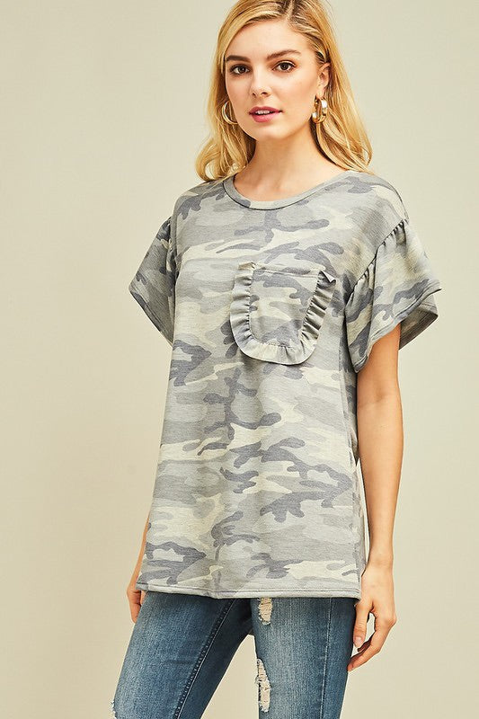 Grey Ruffle Camo Top