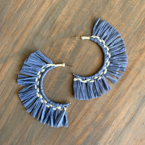 Blue and White Raffia Hoops