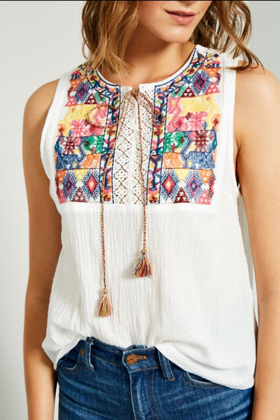 White Embroidered Tie-Front Top
