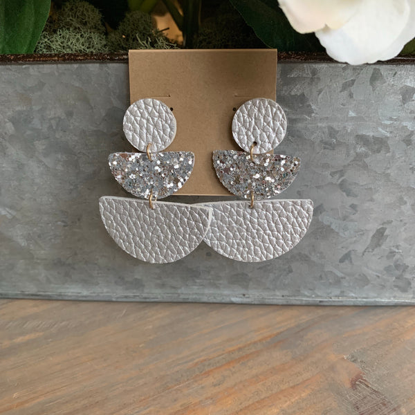 Silver Wedge Glitter Leather Earrings