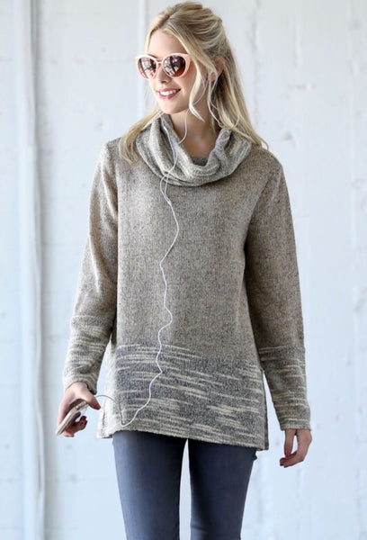 Oatmeal Cowl Neck Sweater
