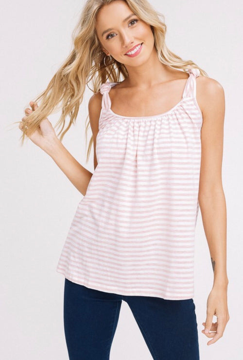 Ginger Striped Knot Strap Tank