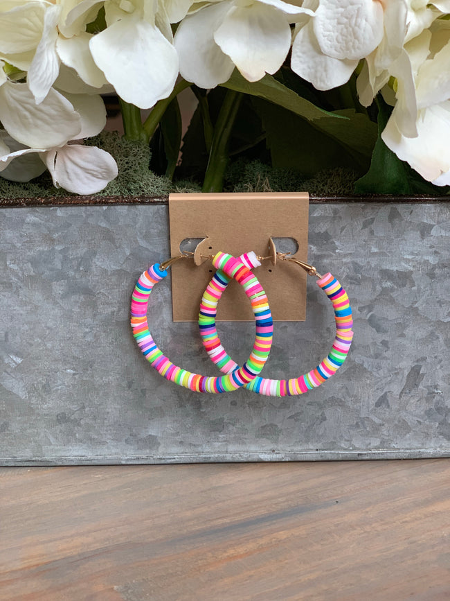 Multi color rubber bead hoops
