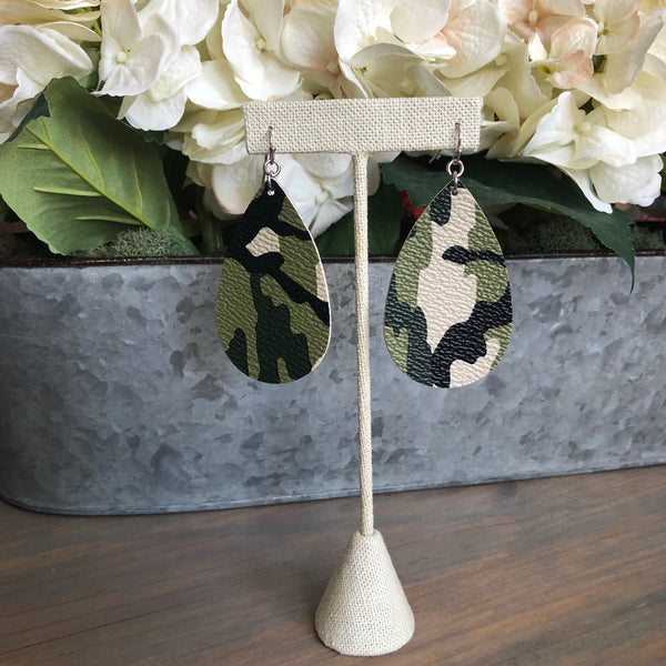 Leather Camouflage Earrings