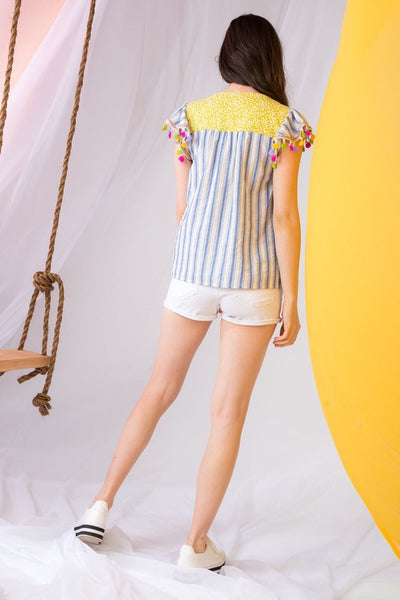 Blue Stripe Embroidered Bib Tassel Top