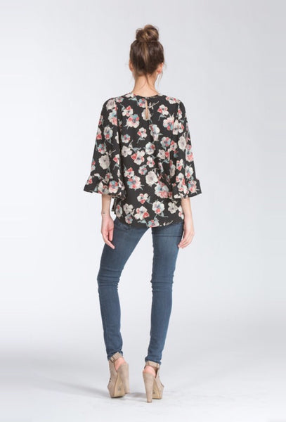 Black Floral Bell Sleeve Top