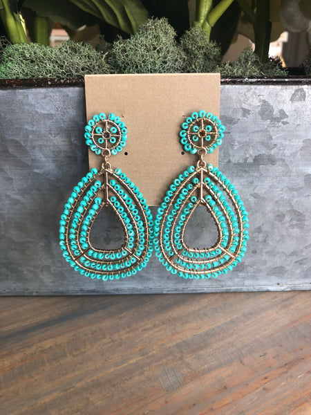 Turquoise Seed Bead Teardrop Earrings