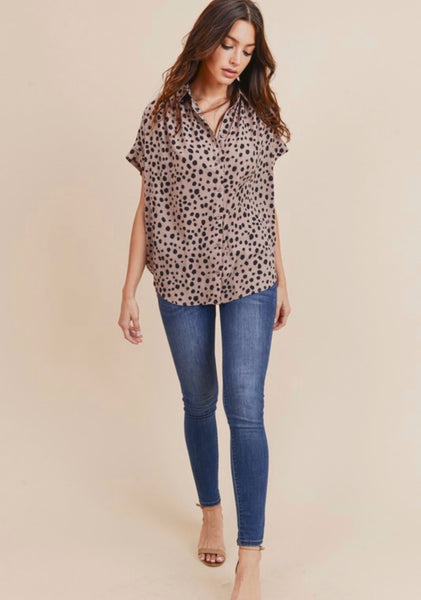 Mauve Spotted Button Up Top