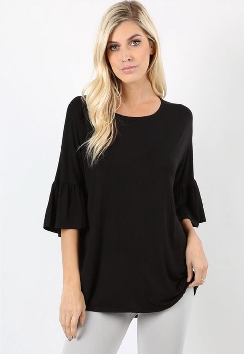 Black Knit Bell Sleeve Top