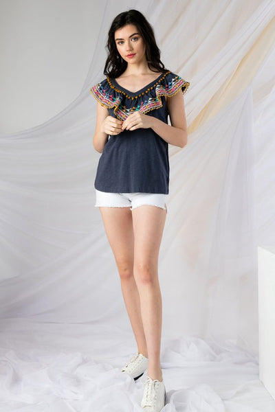 Navy Embroidered Ruffle Knit Top